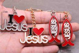 Llaveros jesus online-Religión pescados de Jesús Cruz goteo de aceite Clave I Love Jesus clave coche anillo llaveros, bolsos, accesorios regalo