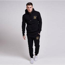 Шелковая спортивная одежда онлайн-Fashion new gym sportswear men's pants suit sweatshirt sportswear  Sik silk embroidery casual fitness clothing jogging suit