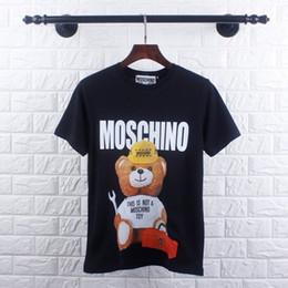 2019 tissu de haute qualité pour t-shirt T-shirt en coton pour hommes avec d'adorables ours, nouveauté mode, tissu de grande qualité 19 nouveaux tops d'été tissu de haute qualité pour t-shirt pas cher