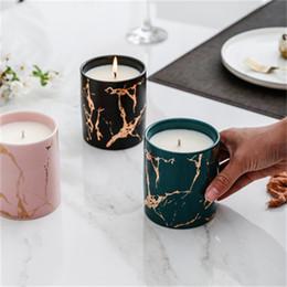 Adornos de mármol online-Función Multi patrón de mármol de oro Cerámica vela ornamento aromaterapia decoración del hogar regalo de alto grado distintos color 22 5xy H1