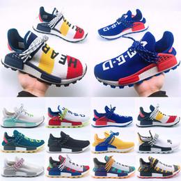 Nueva llegada Raza humana Hu trail Zapatos para correr Hombres Mujeres Pharrell Williams Amarillo noble ink core Negro diseñador Zapatillas deportivas 36-47 desde fabricantes