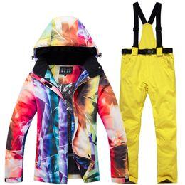 7192063b4ac 2019 winter new snowboard clothing suit women s warm sportswear ski jacket  waterproof windproof breathable + bib ski pants