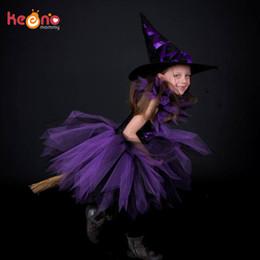 Mor Siyah Kız Cadı Şapka El Yapımı Tül Ile Tutu Cadılar Bayramı Kostüm Karnaval Cosplay Parti Fotoğraf Elbise Q190522 supplier purple witch dress nereden mor cadı elbisesi tedarikçiler
