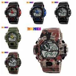 skmei watch dual Promotion En plein air étanche montre électronique 6 couleurs lumineuses montre Skmei numérique Dual s choc montres tactiques montres de sport OOA6032