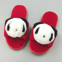 0a7548dd229 Winter Home Slippers With Rabbit Fur Fluffy Indoor Panda Animal Warm Shoes  Slip on Flats Female Slides Casual for Girl Women