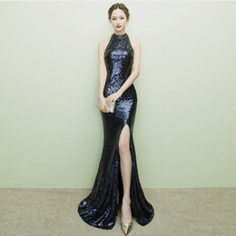 Горячие платья сексуальный китайский онлайн-Hot Sexy Cheongsam Длинное Вечернее Платье Традиционные Китайские Восточные Платья Партии Черный Блестками Зима Qipao Vestido De Noche