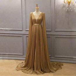 green cape dresses Coupons - Gold Chiffon Arabic Formal Dresses Evening Wear with Cape Plunging Neck Evening Gowns Dubai A Line Chiffon Pleated Floor Length Prom Dress