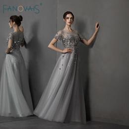 2019 vestidos vestidos de gala Mangas curtas Vestido de Noite 2019 A-Line Cristal Frisado Tule Prata Cinza Prom Vestido Até O Chão Vestido De Festa Vestido de gala NE87 vestidos vestidos de gala barato