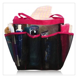 portable bath bag Coupons - Portable Mesh Shower Tote Quick Dry Hanging Toiletry and Bath Organizer with 8 Storage Pockets Perfect Travel Bag Practical
