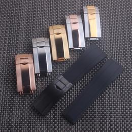 Alta calidad 20 mm 21 mm Caucho de silicona Correa Suave Correa negra Cierre de ostra para reloj RX desde fabricantes