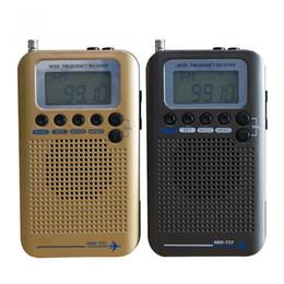 radio orologio mondiale Sconti Radio portatile Radio digitale portatile con display LCD Sveglia demodulatore FM / AM / SW CB Air VHF World Band Stereo