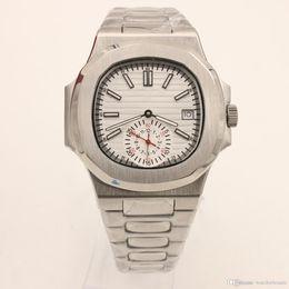 2019 relógios de couro Relógio de luxo 5711 Série 40 MM Caso Em Aço Inoxidável Espelho de Safira Multifunções Timing Transparente Tampa Traseira De Couro Strap jason007 relógios de couro barato