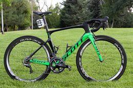 Manubrio in carbonio verde online-Green Foil New Color Carbon Completa bici da corsa R9100 R8000 R7000 scegli c50 Sella manubrio Wheelset