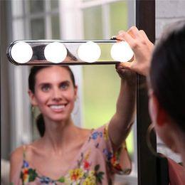 mesas laterais espelhadas atacado Desconto Studio Brow Make Up Super Brilhante Iluminação 4 Lâmpadas LED Portátil Espelho Cosmético Kit de Luz Alimentado Por Bateria Espelhos de Maquiagem Luz A9
