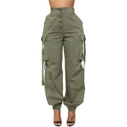Камуфляжная лента онлайн-Plus Size Oversized Patchwork Front Button High Waist Ribbon Pocket Loose Jogger Cargo Pant Streetwear Women Camo Black Trouser