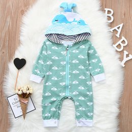 c6954152d5b good quality Infant Baby Boys rompers Long Sleeve Whale Cartoon Print Romper  Jumpsuit HoodieClothes children s clothing