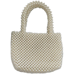 imitations handbags Promo Codes - NEW-Women Vintage Imitation pearls Handbag Spring Trendy Retro Chic Top Handle Bag Female Small Size Beading Classical Elegant