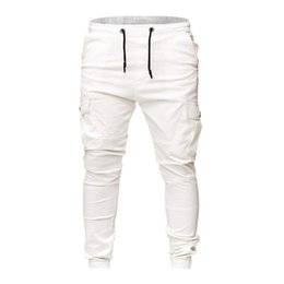 Модный галстук онлайн-новые мужчины лодыжки связали брюки-карго vogue человек slim fit повседневные брюки карандаш боковые карманы гарем досуг твердые брюки горячие