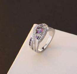 2019 anelli a forma di cuore anello bianco Anello di ametista a forma di cuore di vendita caldo; Anello in oro bianco e argento 925 placcato in oro bianco e argento. Taglia 6 7 8 sconti anelli a forma di cuore anello bianco