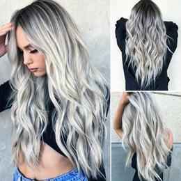 haarfarbe styles burgund schwarz Rabatt Frauen Farbverlauf grau lange lockige Perücke synthetische welliges Haar hitzebeständige Perücke