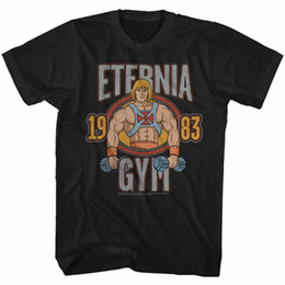 2020 camiseta universitária Masters Of The Universe Eternia Gym 1983 T-Shirt Para Adultos camiseta universitária barato