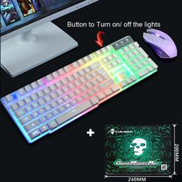 Teclados ergonômicos on-line-Teclado T6 Rainbow Gaming PC Laptop Backlight Ergonômico Usb e Mouse Set 1 # M