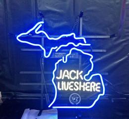 Neon jack on-line-JACK VIVE AQUI Neon Lâmpada de Design de Cerveja Publicidade Publicidade Decoração Presente Da Arte de Vidro Real de Luz de Néon de Metal Quadro 17 '' 24 '' 30''40 ''