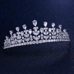 Coronas de baile de calidad online-hoja de calidad superior dama de honor nupcial Cubic Zirconia blanco plateado niñas circón corona de la tiara / diadema para el prom