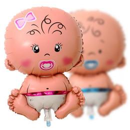 2019 décoration de baptême garçon Foil balloons Baby Shower Bath Foil Helium Ballons Rose Fille Bleu Garçon Baptême Fête D'anniversaire Décoration Décor 50 x 80 cm 15pc décoration de baptême garçon pas cher
