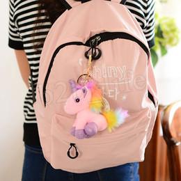 Pequeno brinquedo de pelúcia chaveiro on-line-Plush colorido Unicorn Plush Backpack Pendant Keychain Stuffed Animal Chaveiros pequeno pingente Bag Acessórios Stuffed boneca MMA2691-A1