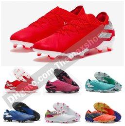 Botas de as online-2019 New Arrive Mens Messi Nemeziz 19.1 FG ace 19 + x 19.1 Slip-On Zapatos de fútbol Fútbol Botines bajos Botas al aire libre Tacos Tamaño US6.5-11