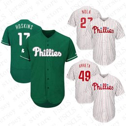 Mens Custom jerseys Philadelphia Phillies Rhys Hoskins Aaron Nola baseball  jersey color white red blue gray discount mlb jerseys 3a8dd402f3d3