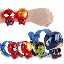 I migliori regali per i bambini online-Orologi per bambini Avengers Orologi per bambini Iron Man Spiderman Hulk Capitan America Cartoon Movie Kids Watches Best Gifts