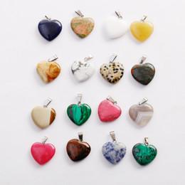 2019 pulseras hacen formas Moda caliente Forma de Corazón de Amor mezcla de piedra Colgantes de Color Granos Flojos para Pulseras y Collar Fabricación de Joyas DIY para Mujeres Regalo gratis rebajas pulseras hacen formas