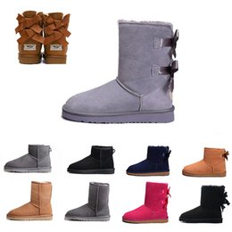 UGG BOOTS Grey Snow Winter WGG Leather Women Australia Classic kneel half Long Boots Ankle Black chestnut navy blue red coffee Womens girl shoes 5-10 desde fabricantes