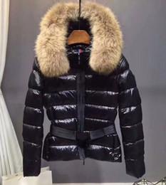 Cuello de piel chaqueta delgada cintura online-Capa de las mujeres por la chaqueta corta femenina Sección cintura delgada fina caliente grueso cuello clásico de Big piel Down Jacket las mujeres