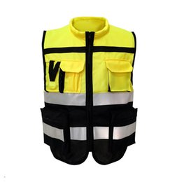 Stampa di abbigliamento da lavoro online-Gilet riflettente di sicurezza di alta visibilità Gilet stampato di sicurezza Night Night Reflective Stripes Outdoor Night Riding Workwear