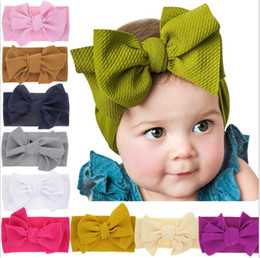 baby bow headwrap Coupons - Baby girls big bow Cross Headbands kids Hair bows Elastic headwear Headdress hair band Headwrap Turban Knot Children Hair Accessories