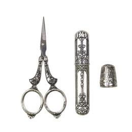 Scissor vintage online-Forbici in acciaio inox per kit vintage europeo / astuccio per metallo / astuccio per ago Strumenti per cucire fai da te per ricamo a punto croce