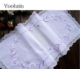 2019 corredores de mesa impermeáveis Moderno branco de algodão rendas cama mesa corredor bandeira capa pano de mesa de natal toalha de mesa mantel nappe casa decoração de casamento