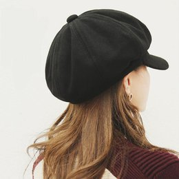 Cappuccio gril online-DSstyles moda giapponese Wild Style Beret donne Gril ottagonale casuale sveglio Knitting Dome Beret Cap Hat