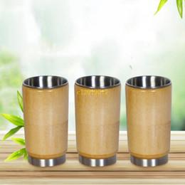 Vasos de copas de bambú online-Envío gratis 50 unids creativo 304 acero inoxidable taza de agua original de bambú japonés japonés abierto gafas sin cubierta