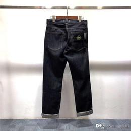 2019 jeans di lycra Pantaloni da jeans dritti in tinta unita con bordi laterali ricamati classici europei e americani di moda di strada 19SS all'ingrosso jeans di lycra economici
