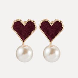 2019 pendientes simples rojos del corazón del amor nueva dama retro polvo rojo en forma de corazón cuentas de accesorios de moda desde fabricantes