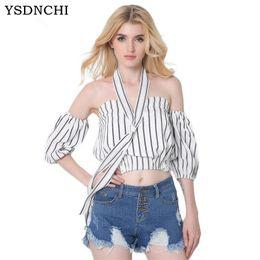 224533f0807c YSDNCHI Crop top Cotton Striped Print Women T-Shirts top women T Shirts  Midriff Baring Half Sleeve Blusa tshirt Sexy crop