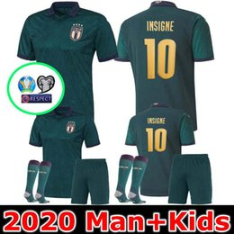 Maillots de foot italie en Ligne-MAN + KIDS 2019 2020 ITALIE Maillot de football Coupe d'Europe 19 20 vert foncé Jorginho EL Shaarawy BONUCCI INSIGNE BERNARDESCHI FOOTBALL