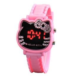 Relojes de diseño de gato online-Diamante de lujo cara de gato KT Relojes Moda Rhinestone Bow Design Reloj para niños LED Digital de dibujos animados de silicona Reloj electrónico para estudiantes