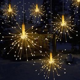 Luzes rgb guirlanda on-line-DIY 100/150/200 LED Fogos De Artifício Explosão Estrela de Natal Luz De Fadas Com Controle Remoto 8 Modos Pendurados Starburst LED Corda Garland