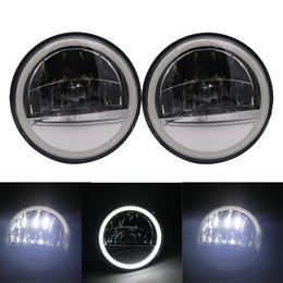 carretera deslizamiento led Rebajas Para Electra Glide Road King Tri Glide 4 1/2 4.5 pulgadas Reflector LED Luz antiniebla Halo blanco Lámpara de paso
