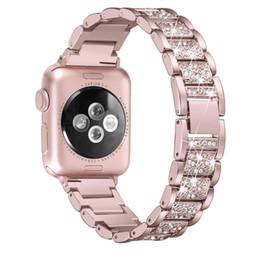 2019 tela de bandera de nylon Para la venda de reloj de Apple 38mm 40mm 42mm 44mm diamante de las mujeres de la banda para la serie de Apple Seguir 5 4 3 2 iWatch pulsera de acero inoxidable Correa Y191105